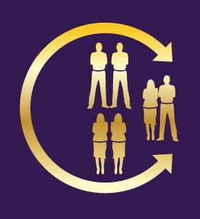 connector-based mentorship logo. Yellow figures on purple background.